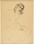 Drawing of a seated woman by a German Jewish internee