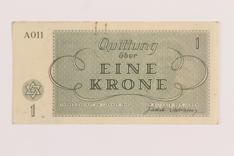 1989.62.2 front Theresienstadt ghetto-labor camp scrip, 1 krone note, acquired by a Jewish Lithuanian survivor