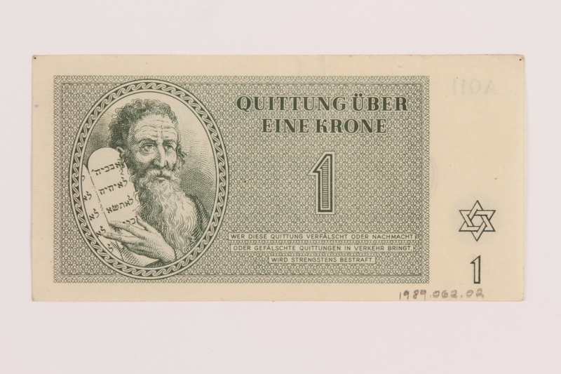 1989.62.2 back Theresienstadt ghetto-labor camp scrip, 1 krone note, acquired by a Jewish Lithuanian survivor