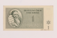 1989.62.2 back Theresienstadt ghetto-labor camp scrip, 1 krone note, acquired by a Jewish Lithuanian survivor  Click to enlarge