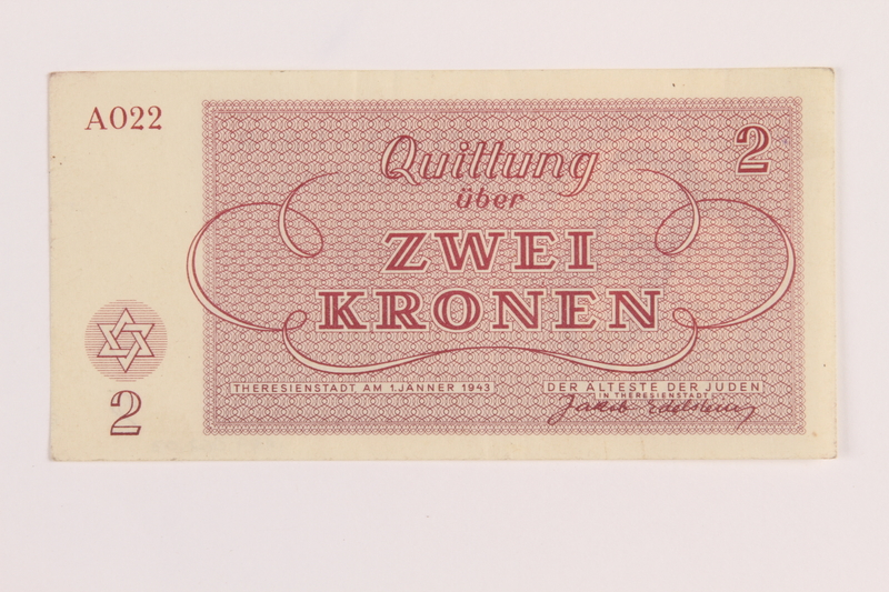 1989.62.3 front Theresienstadt ghetto-labor camp scrip, 2 kronen note, acquired by a Jewish Lithuanian survivor