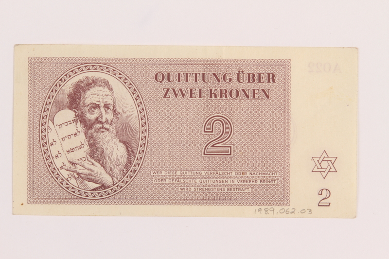 1989.62.3 back Theresienstadt ghetto-labor camp scrip, 2 kronen note, acquired by a Jewish Lithuanian survivor