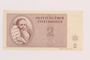 Theresienstadt ghetto-labor camp scrip, 2 kronen note, acquired by a Jewish Lithuanian survivor