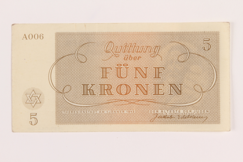 1989.62.4 front Theresienstadt ghetto-labor camp scrip, 5 kronen note, acquired by a Jewish Lithuanian survivor
