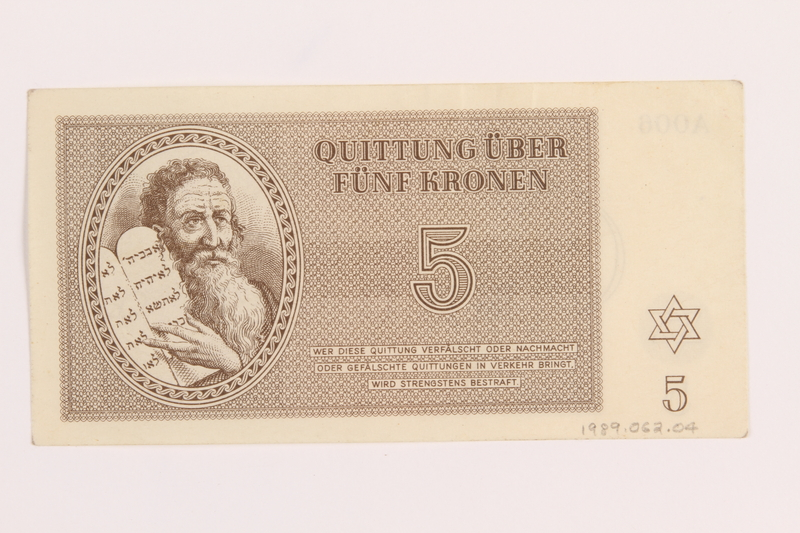 1989.62.4 back Theresienstadt ghetto-labor camp scrip, 5 kronen note, acquired by a Jewish Lithuanian survivor