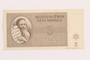 Theresienstadt ghetto-labor camp scrip, 5 kronen note, acquired by a Jewish Lithuanian survivor