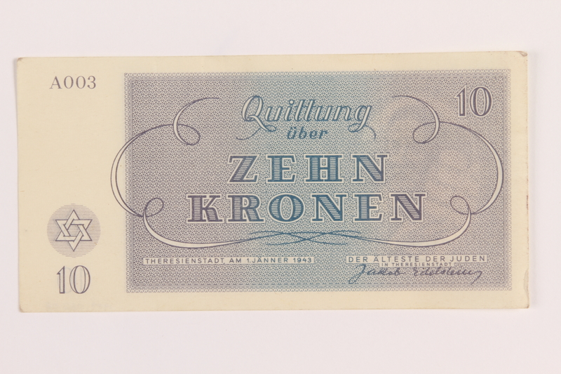 1989.62.5 front Theresienstadt ghetto-labor camp scrip, 10 kronen note, acquired by a Jewish Lithuanian survivor