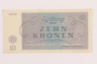 1989.62.5 front Theresienstadt ghetto-labor camp scrip, 10 kronen note, acquired by a Jewish Lithuanian survivor  Click to enlarge