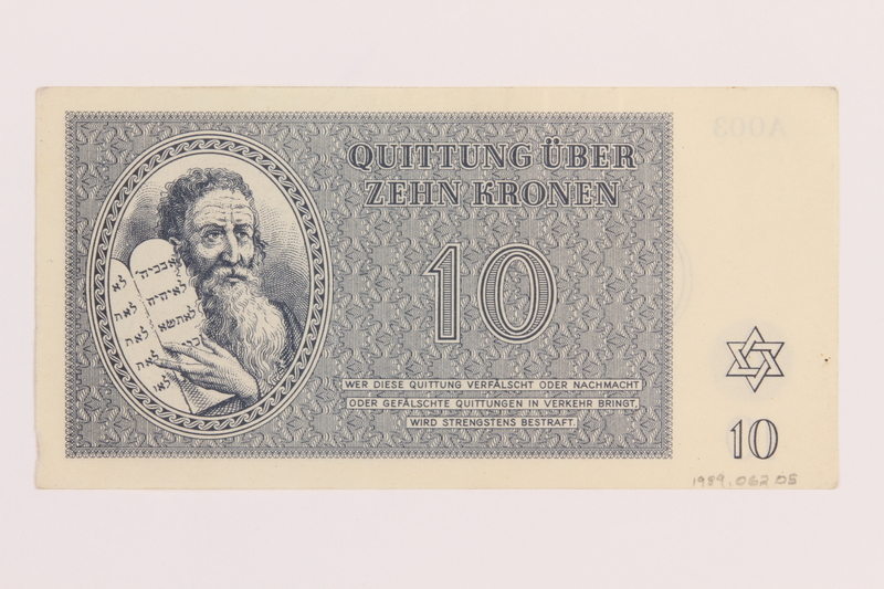 1989.62.5 back Theresienstadt ghetto-labor camp scrip, 10 kronen note, acquired by a Jewish Lithuanian survivor