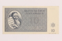 Theresienstadt ghetto-labor camp scrip, 10 kronen note, acquired by a Jewish Lithuanian survivor