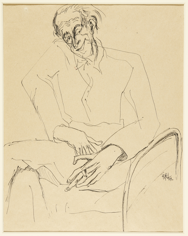 1988.1.61 front Drawing of a seated man holding a cigarette by a German Jewish internee