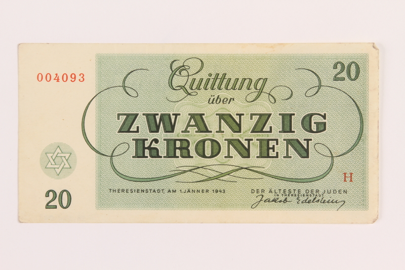 1989.62.6 front Theresienstadt ghetto-labor camp scrip, 20 kronen note, acquired by a Jewish Lithuanian survivor