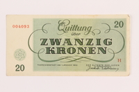 1989.62.6 front Theresienstadt ghetto-labor camp scrip, 20 kronen note, acquired by a Jewish Lithuanian survivor  Click to enlarge