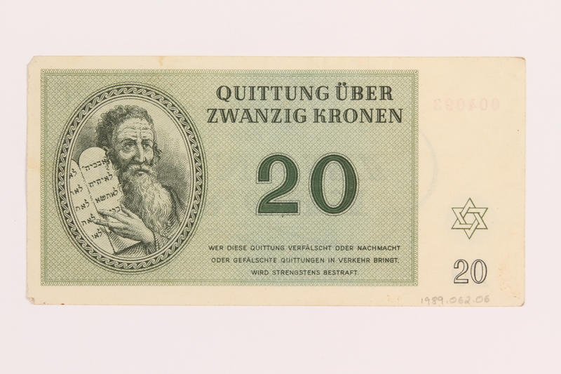 1989.62.6 back Theresienstadt ghetto-labor camp scrip, 20 kronen note, acquired by a Jewish Lithuanian survivor