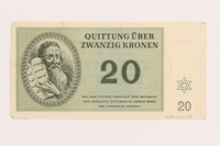 1989.62.6 back Theresienstadt ghetto-labor camp scrip, 20 kronen note, acquired by a Jewish Lithuanian survivor  Click to enlarge