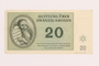 Theresienstadt ghetto-labor camp scrip, 20 kronen note, acquired by a Jewish Lithuanian survivor