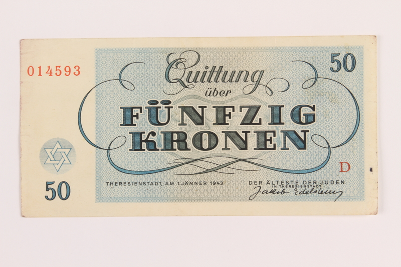 1989.62.7 front Theresienstadt ghetto-labor camp scrip, 50 kronen note, acquired by a Jewish Lithuanian survivor