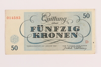 1989.62.7 front Theresienstadt ghetto-labor camp scrip, 50 kronen note, acquired by a Jewish Lithuanian survivor  Click to enlarge