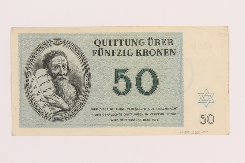 1989.62.7 back Theresienstadt ghetto-labor camp scrip, 50 kronen note, acquired by a Jewish Lithuanian survivor