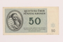 Theresienstadt ghetto-labor camp scrip, 50 kronen note, acquired by a Jewish Lithuanian survivor