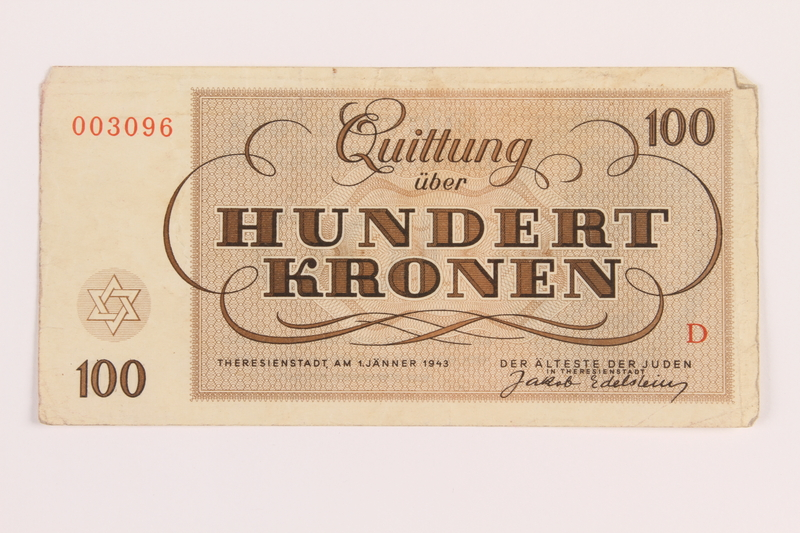 1989.62.8 front Theresienstadt ghetto-labor camp scrip, 100 kronen note, acquired by a Jewish Lithuanian survivor