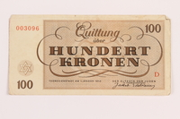 1989.62.8 front Theresienstadt ghetto-labor camp scrip, 100 kronen note, acquired by a Jewish Lithuanian survivor  Click to enlarge