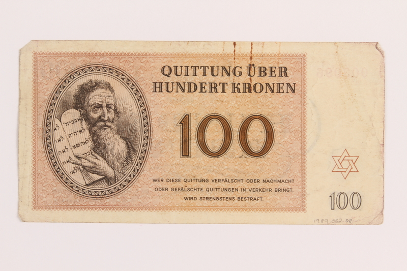 1989.62.8 back Theresienstadt ghetto-labor camp scrip, 100 kronen note, acquired by a Jewish Lithuanian survivor