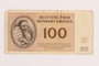 Theresienstadt ghetto-labor camp scrip, 100 kronen note, acquired by a Jewish Lithuanian survivor