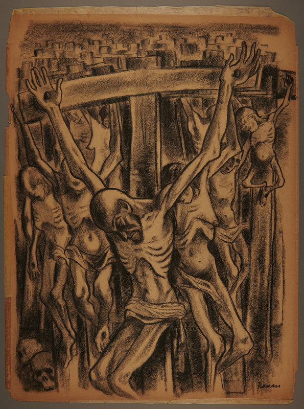 1999.109.7 front Charcoal drawing of skeletal crucified prisoners