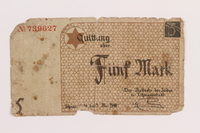 1989.9.1 front Łódź ghetto scrip, 5 mark note  Click to enlarge
