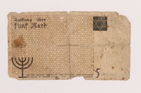 1989.9.1 back Łódź ghetto scrip, 5 mark note  Click to enlarge