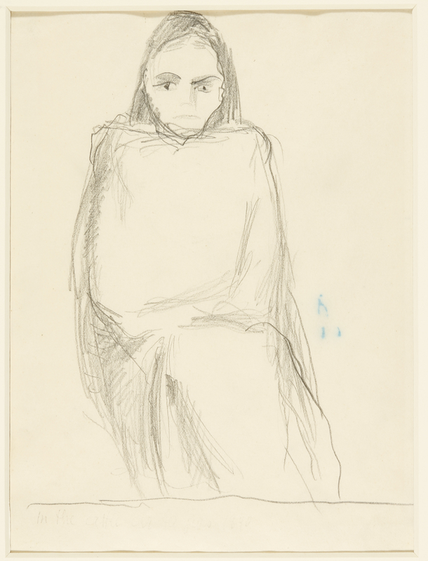 1988.1.65 front Drawing of a seated young woman in a blanket by a German Jewish internee