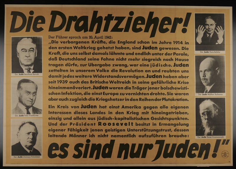 1999.144.2 front Anti-Semitic propaganda poster with pictures of several prominent Jewish figures