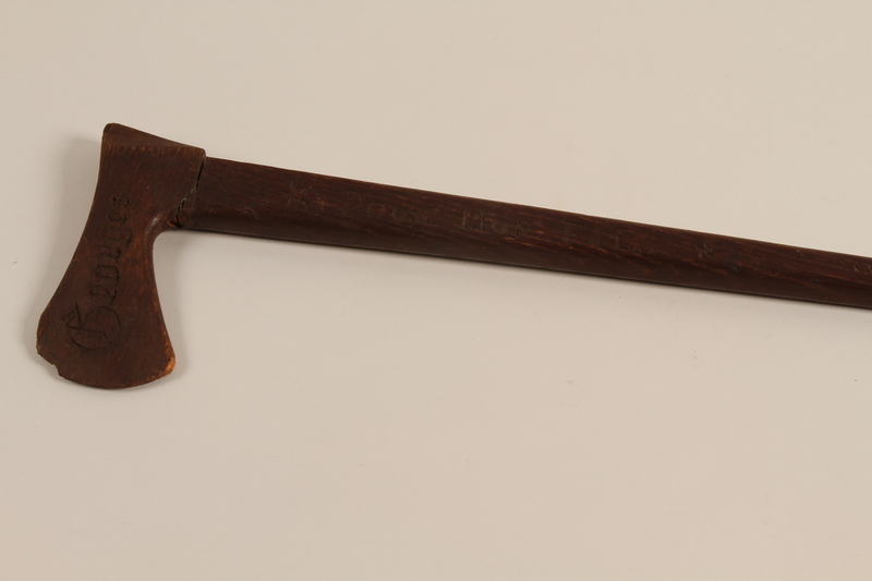 1999.170.2 left side Walking stick received as a gift by a French Jewish boy who survived in hiding