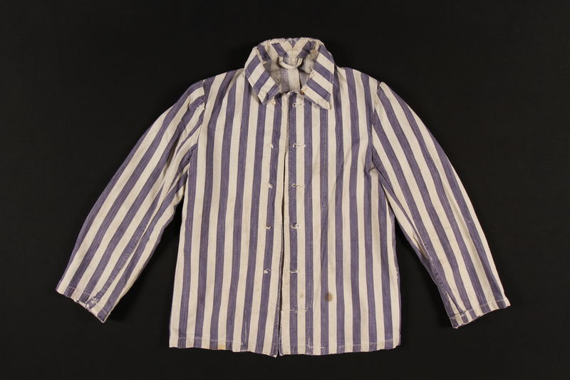 1999.173.1 front Concentration camp inmate uniform jacket