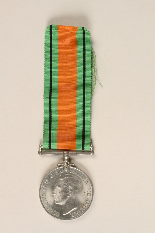 1999.180.2 front Defence Medal 1939-1945 and ribbon awarded to a Jewish medical officer, 2nd Polish Corps