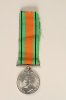 1999.180.2 front Defence Medal 1939-1945 and ribbon awarded to a Jewish medical officer, 2nd Polish Corps  Click to enlarge