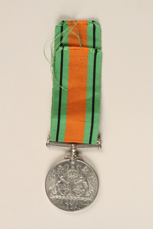1999.180.2 back Defence Medal 1939-1945 and ribbon awarded to a Jewish medical officer, 2nd Polish Corps