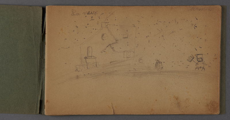 1999.75.2_page_1 Notebook of drawings created by Jewish boy after disembarkation from the MS St. Louis in Belgium