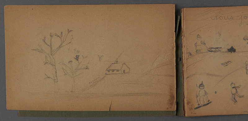1999.75.2_page_2 Notebook of drawings created by Jewish boy after disembarkation from the MS St. Louis in Belgium