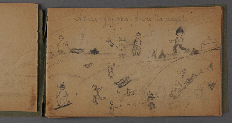 1999.75.2_page_3 Notebook of drawings created by Jewish boy after disembarkation from the MS St. Louis in Belgium