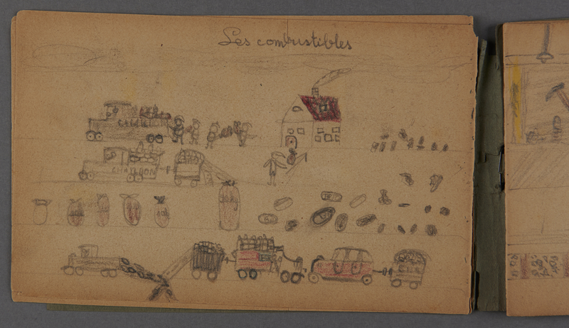 1999.75.2_page_6 Notebook of drawings created by Jewish boy after disembarkation from the MS St. Louis in Belgium