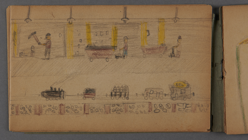 1999.75.2_page_7 Notebook of drawings created by Jewish boy after disembarkation from the MS St. Louis in Belgium