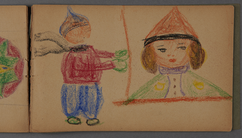 1999.75.2_page_13 Notebook of drawings created by Jewish boy after disembarkation from the MS St. Louis in Belgium