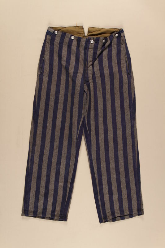 1999.86.4 front Concentration camp inmate uniform pants worn by an inmate in Dachau