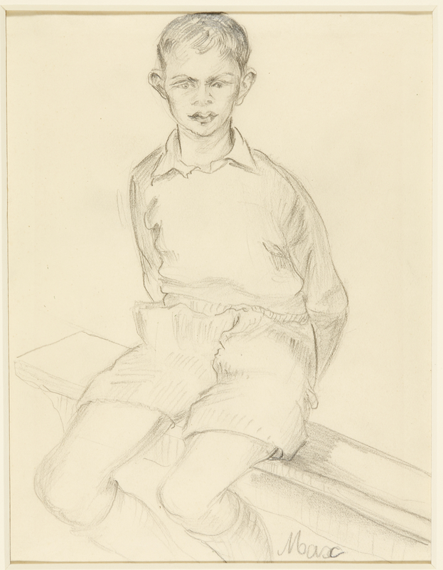 1988.1.67 front Drawing of a young boy sitting on a bench by a German Jewish internee