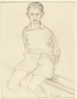 Drawing of a young boy sitting on a bench by a German Jewish internee