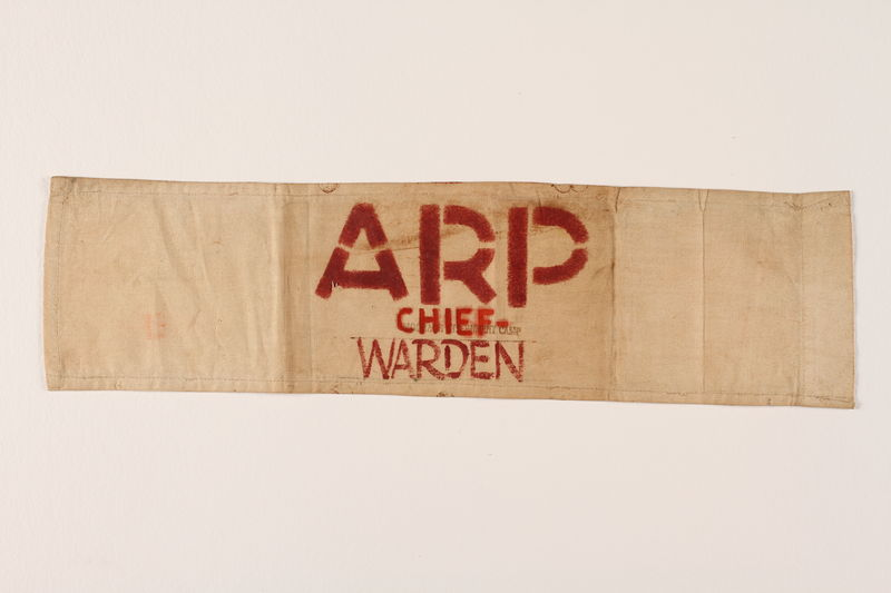 2000.129.2 front White armband printed ARP Chief-Warden