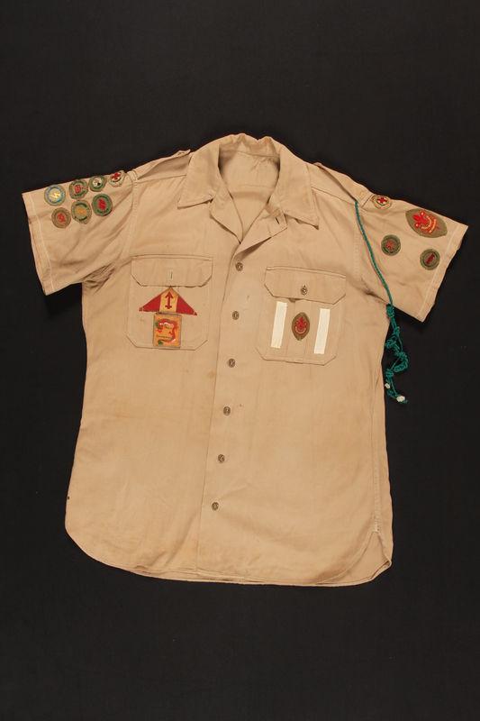 2000.24.35_a front Boy Scout uniform shirt worn in Shanghai