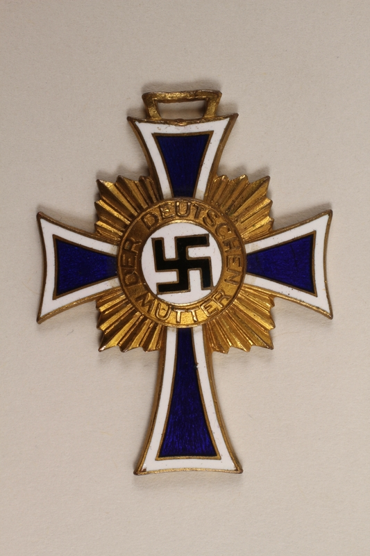 2000.263.1 front Cross of Honor of the German Mother medal, with ribbon, 1st Class Order, Gold Cross